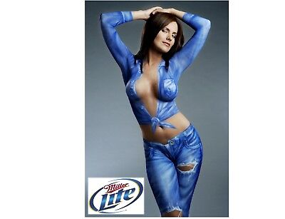 Miller Lite Beer Body Paint Girl Blue Refrigerator / Tool Box  Magnet Man Cave