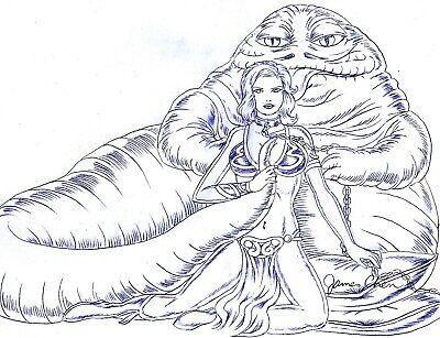 LEIA OUTFIT & JABBA THE HUTT ORIGINAL COMIC ART  (Slave-leia-outfit)