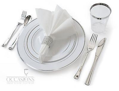 Wedding Disposable Plastic Plates, silverware, silver rimmed tumblers + Napkins - Plastic Silver Silverware