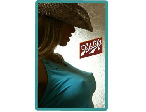 Schlitz Beer Cowgirl In Blue Top Refrigerator / Tool Box Magnet