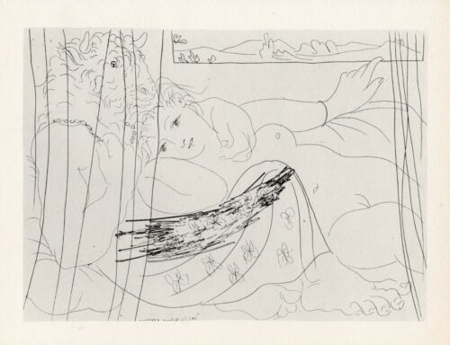 Pablo Picasso, Intertwined Minotaur and Young Woman Dreaming Beneath a Window