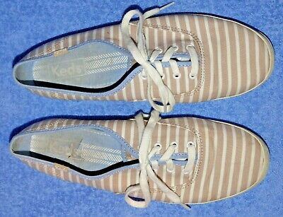 Keds Pale Brown & White Striped Lace-up Plimsolls - Size 6