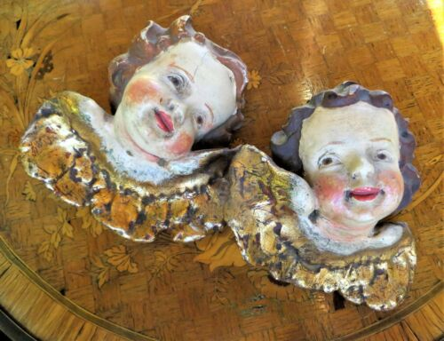 Antique Pair of Carved Wood Hand Painted Putti Angels Cherubs Heads Wall Figural