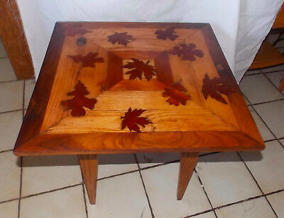 Walnut Oak Mahogany Leaf Inlaid Side Table / End Table  (T591)