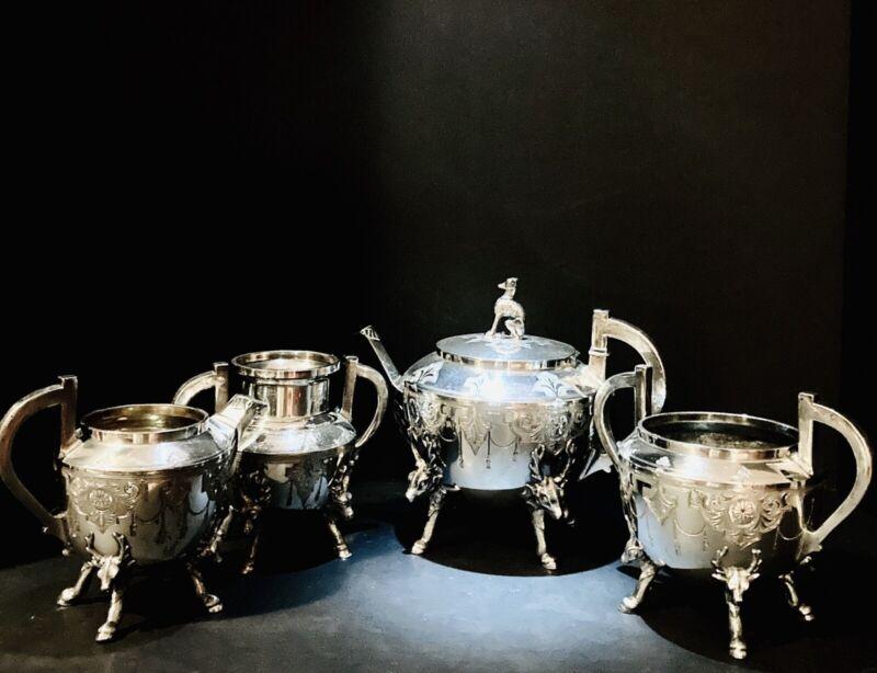 Meridan Silverplate Co. Aesthetic Period Ornate Silver Plated Tea Set, ca.1870