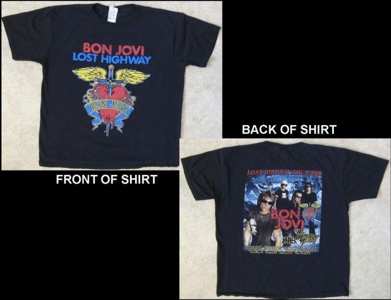 BON JOVI Lost Highway Tour 2008 Size Large Black T-Shirt