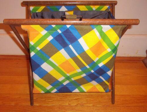 "Vtg Folding Sewing Caddy Storage Basket Bin Fabric and Wood 17"" tall X 13"" long"