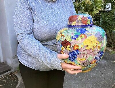 LARGE OLD CHINESE CLOISONNE JAR with LID