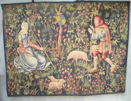 A Superb 19th Century Mille Fleurs Design Handwoven Tapestry