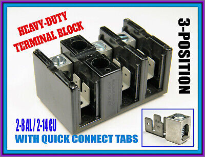 Heavy-duty Large-gauge Wire Terminal Strip Block 3-position With Quick Conns