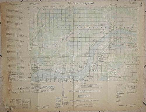 6046 iv - CIA MAP - 1963 MEKONG RIVER - PREK POU CAMBODIA - USSF - Vietnam War