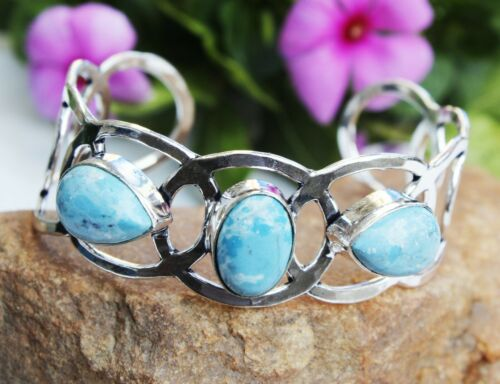 925 Sterling Silver Caribbean Larimar Gemstone Handmade Jewelry Bangle Sz 7-8