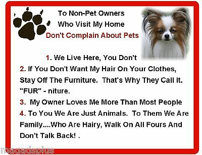 Funny Dog Papillon House Rules Refrigerator / Magnet Gift Card Idea