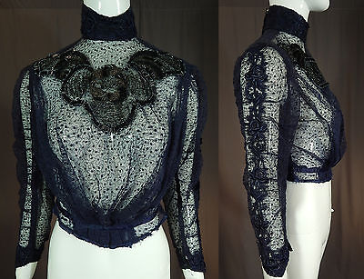 Vintage Victorian Navy Blue Floral Embroidered Tulle Net Beaded Blouse Bodice