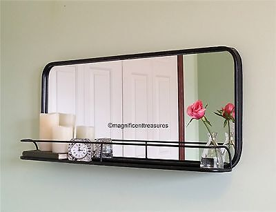 Rectangular Wall Mirror industrial metal pharmacy style rectangular wall mirror with shelf
