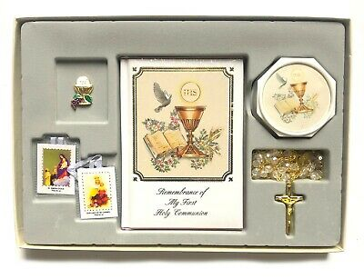 1st Communion Gifts For Boys (New First Holy Communion Box Gift Set for Boys or Girls English Missal Rosary)