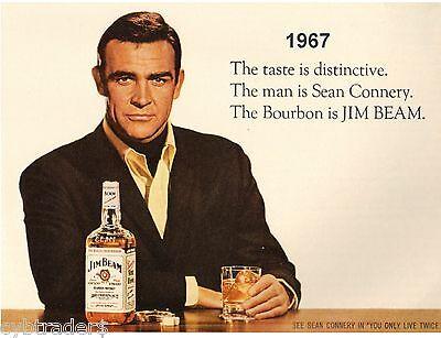 Sean Connery 007  Jim Beam Whiskey Ad  Refrigerator / Tool Box Magnet  Man Cave