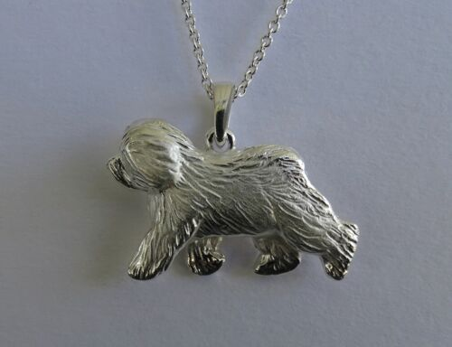 Large Sterling Silver Old English Sheepdog Moving Study Pendant