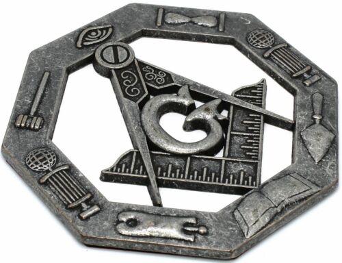 """Masonic 3"""" Inch Square & Compass Cut out Car Auto Emblem  Oxidized Silver DMCE01"""