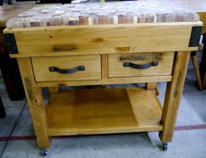 New Kitchen Mobile Timber Butcher Block Chopping Island Storage Richmond Yarra Area Preview