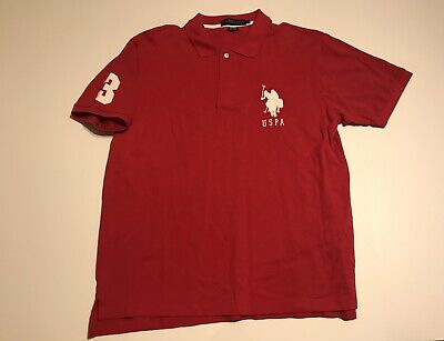 U.S Polo Assn Red Short Sleeve Polo Logo T Shirt Mens Size Large (D)