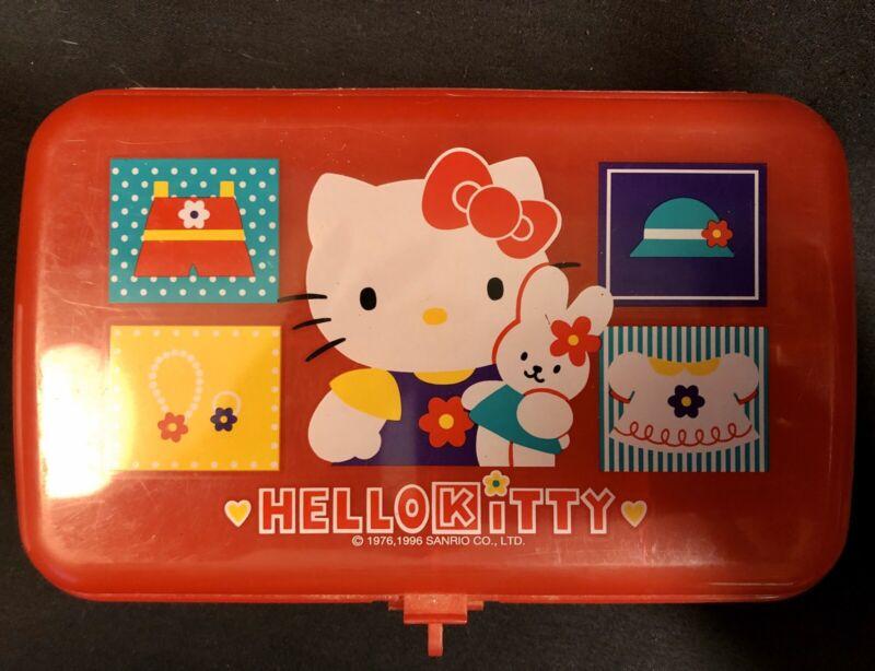VINTAGE 1996 Sanrio Hello Kitty Plastic Pencil Case Container Organizer Japan