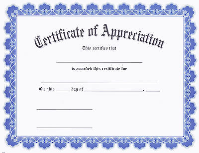 Award Certificate of Appreciation, Contemporary Blue Border, Pack of 15](Certificate Of Award)