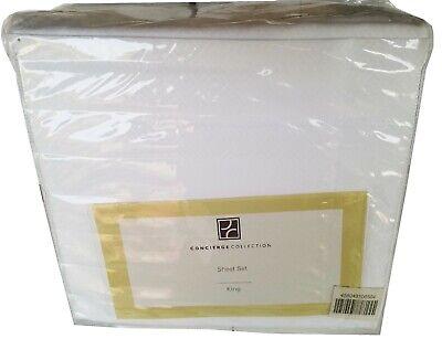 Greek Key Sheets - Concierge Collection Microfiber Greek Key 4-piece King Sheet Set White - King