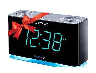 Emerson SmartSet Alarm Clock Radio with Bluetooth Speaker, Charging Station/P...