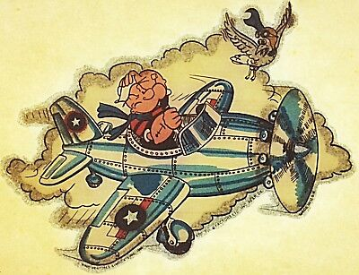 Vintage 70s Popeye the Sailor Flying Plane Iron On Transfer