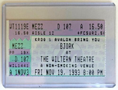 1993 Bjork Ticket Stub 11/19/93 - Debut Tour - Wiltern Theatre - Los Angeles, Ca