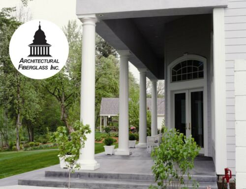 Architectural Fiberglass Round Tapered Column with Tuscan Capital & Base GFRP