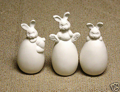 Ceramic Bisque Three Bunny Eggs Set Clay Magic Mold 1167 U-Paint Ready To Paint
