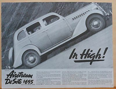 Vintage 1935 magazine ad for DeSoto - Munkacsi photo, Airstream De Soto In HIgh!