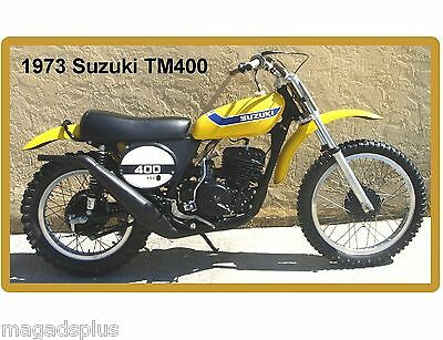 1973 Suzuki TM 400 Motorcycle Dirt Bike Yellow  Refrigerator / Tool  Magnet
