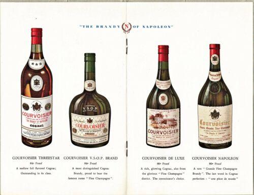 c1940 Courvoisier Cognac Brandy Advertising Folder, Recipes History Color Illus.