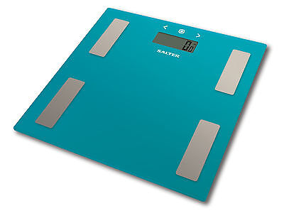 Salter Body Fat Scales - Ultra Slim Glass Electronic Digital Bathroom Scale Teal