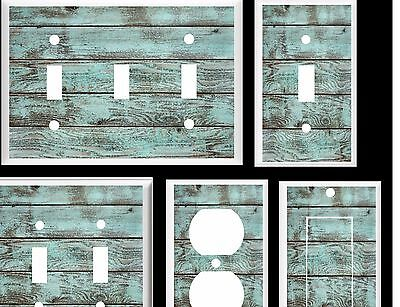 BLUE BARN BOARD WOOD RUSTIC COUNTRY BEACH WOOD # 2  LIGHT SWITCH COVER PLATE