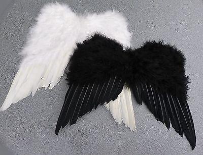FLÜGEL SCHWARZ WEISS ENGELSFLÜGEL TEUFELSFLÜGEL für Engelskostüm / Gothic (Weiße Engel Flügel Kostüm)