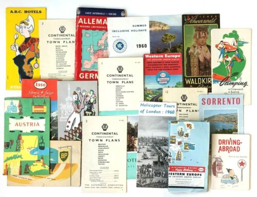 Vintage 1958 - 1960 Lot of 19 European Travel Items Maps Guides Austria Germany
