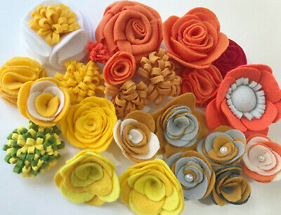 Sunny day Pack of 22 Felt Fabric Flowers - Assorted Shapes, Colors and Sizes Felt Shape Assortment