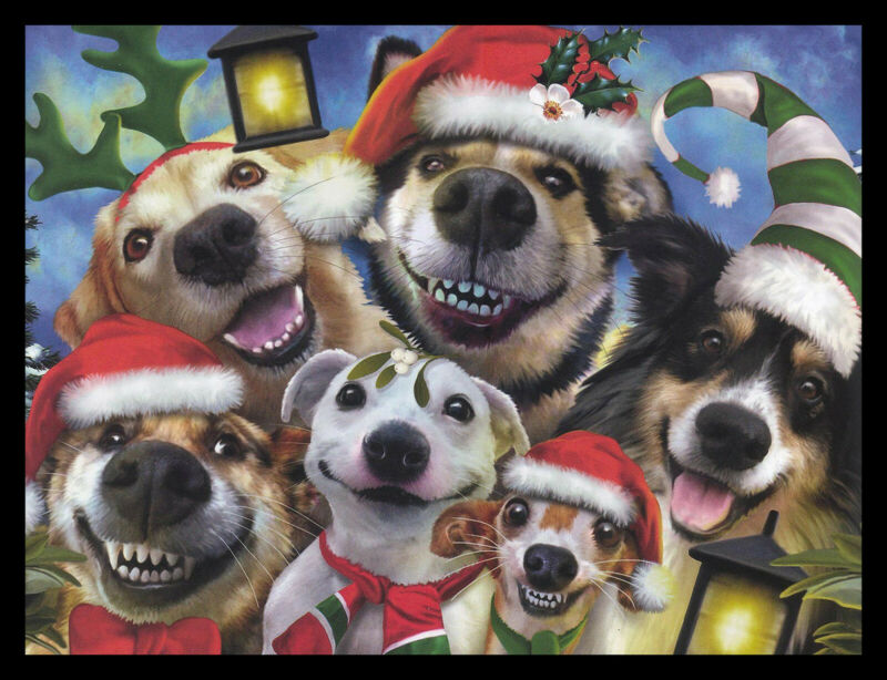 296-MSA Howard Robinson DOG PUPPY Christmas Greeting Card NEW