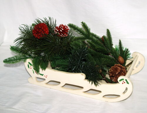 Vintage Wood Christmas Sleigh with Greenery Pine and Cones Tabletop Decor