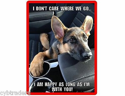 Happy Dog German Shepherd  Refrigerator / Tool Box  Magnet Gift Card Insert