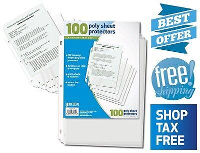 100x Paper Documents Sheet Protectors Acid Free Heavy Duty Non Stick Non Glare