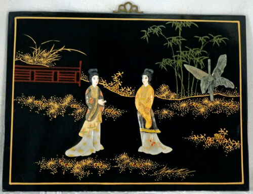 """Chinese Black Lacquer & Soapstone """"Painting"""" Wall Hanging Plaque 2 Geisha"""