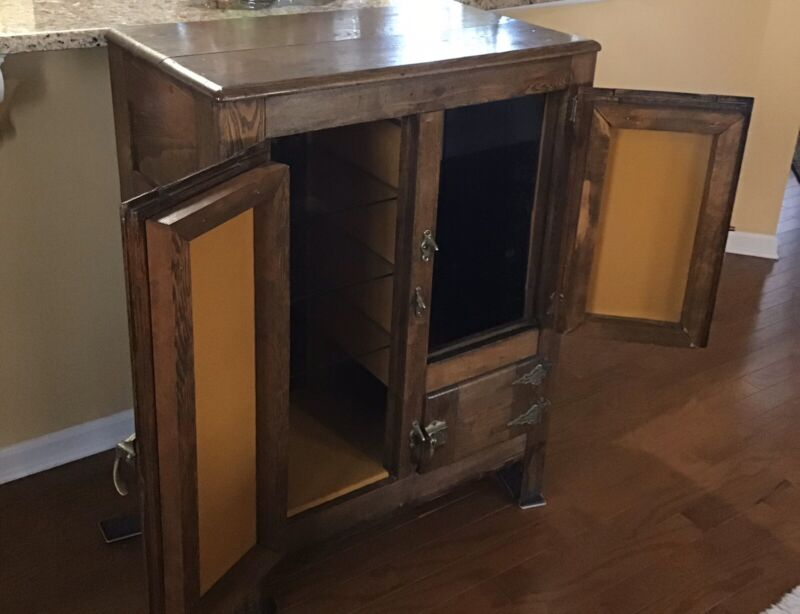 Antique Solid Oak Ice Box with Original Brass Hardware