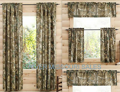 RealTree Xtra Camo Curtain Panels, Tiers, Sets of 2 And/Or Valance- Choice - NEW 2 New Valances Curtains