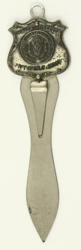 Vintage State Souvenir PITTSFIELD MASSACHUSETTS Silver Tone Seal Bookmark