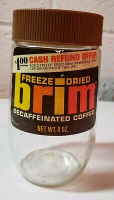 Vtg 8oz Glass Paper Label Brim Coffee Jar With Lid